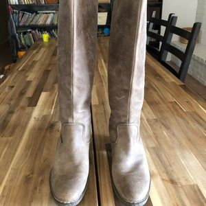 BORN gray Leather High Boots